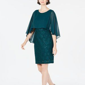 Connected Sequined Lace Capelet Dress Hunter Green